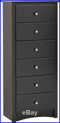 Black Tall Chest 6-Drawer Dresser Set Home Bedroom Wooden Space-Saving Furniture