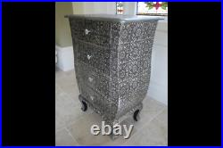 Blackend Silver Embossed Tallboy 4 Drawer Chest Assembled 80cm high