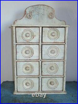 Blue Antique 8 Drawer Spice Cabinet/Box/Cupboard/Apothecary/Chest-Painted-Prim