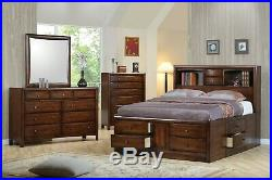 Bookcase Headboard Queen Chest Footboard Storage 10 Drawer Bed Bedroom Furniture