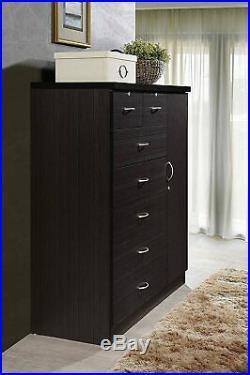 Brown Finish Wooden 7 Drawer Chest Dresser Clothes Storage Side Door Lockable