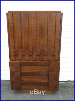 Brutalist Mid Century Modern Cubist Tall Chest of Drawers High Boy by Lane 9505