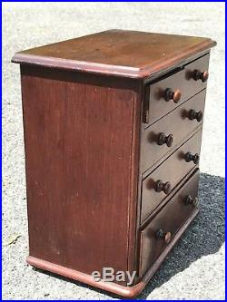 C1850 American Salesman Sample Miniature Antique Two Over Three Chest Of Drawers