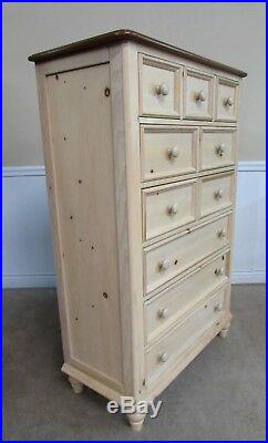 COUNTRY FRENCH PINE CHEST, 6 DRAWER TALL DRESSER, TWO TONE by BROYHILL 57
