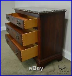 Century Cherry Wood Marble Top Chest of Drawers