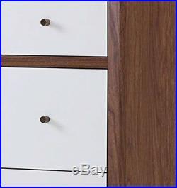 Chest 3 Drawer Dresser Nightstand Mid Century Modern Retro Walnut White Bedroom