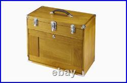 Chest 8 Drawer Wood Tool Chest Storage Box Felt Walnut Stain Fine Autoshop