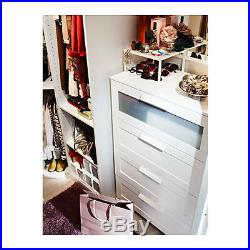 Chest of 4 drawers BRIMNES White/frosted glass, 78x124 cm