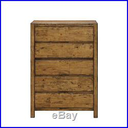Chest of 5-Drawer Dresser Solid Wood Rustic Barn Wood Finish Bedroom Furniture