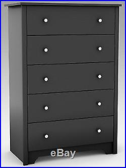 Chest of Drawers Black Dresser Clothes Storage Chest Linens Bedroom Furniture