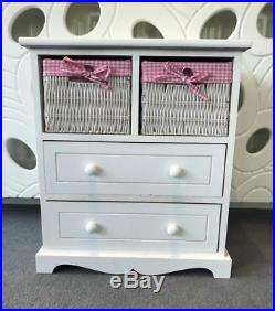 Chest of Drawers Kids Furniture Pink Wicker Baskets Drawers Childrens Storage