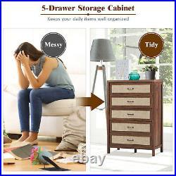 Chest of Drawers Rustic 5 Drawer Dresser Storage Freestanding Cabinet Walnut
