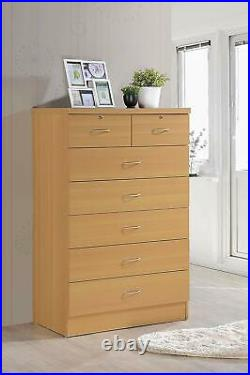 Chest of Drawers Tall Wooden Bedroom Dresser Beech Modern Tallboy With Two Locks
