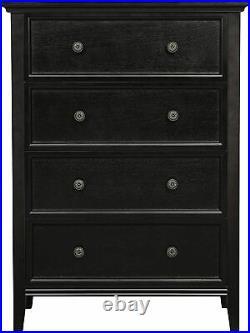 Chest of drawers 4 drawer dresser black wood Storage Cabinet Bedroom Living Room
