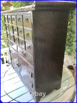 Chinese Antique Apothecary Chest with Pagoda Top 17 Drawers