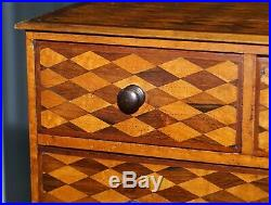 Circa 1740 Continental Mahogany & Satinwood Parquetry Miniature Chest Of Drawers