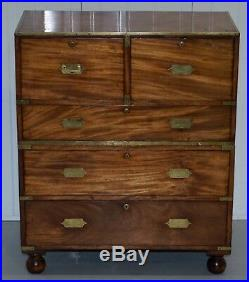 Circa 1870 Solid Walnut Military Officers Campaign Chest Of Drawers Brass Trim