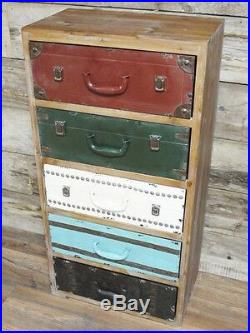 Colourful Industrial Wooden Tall Chest 5 Drawers Sideboard Storage Cabinet Unit