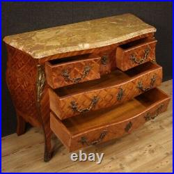 Commode dresser furniture inlaid wood marble top antique style chest of drawers