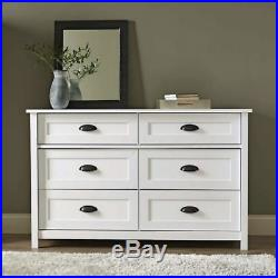 Contemporary Farmhouse 6 Storage Drawer Chest of Drawers Dresser White Finish