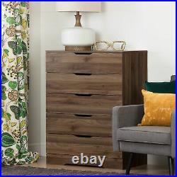 Contemporary Wood 5-Drawer Chest Dresser Cabinet Clothes Storage Organizer Brown