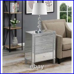 Convenience Concepts Gold Coast 3 Drawer Mirrored Chest in Silver