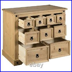 Corona 4+3+2 Drawer Merchant Chest of Drawers, Mexican Solid Pine, Rustic