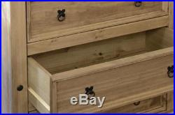 Corona 4pc Bedroom Set Waxed Pine Wooden Wardrobe Chest Bedside Cabinet Drawers