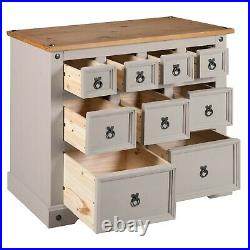 Corona Grey 4+3+2 Drawer Merchant Chest of Drawers, Mexican Solid Pine, Rustic