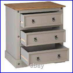 Corona Grey Wax 3 Drawer Chest of Drawers, Mexican Solid Pine