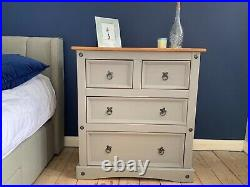 Corona Pine Grey Chest of 4 Drawers, 2 + 2 Mexican Solid Pine, Rustic