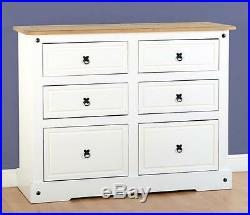 Corona White 6 Drawer Chest Bedroom Storage Mexican Furniture Pine Cabinet