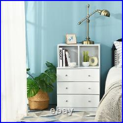 Costway 3 Drawer Dresser With Cubbies Storage Chest for Bedroom Living Room White