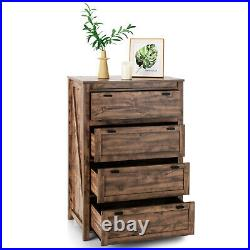 Costway 4-Drawer Dresser Vertical Chest of Drawers Storage Cabinet Rustic Brown