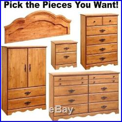 Country Pine Bedroom Furniture Dresser Chest Full Queen Headboard Armoire Set