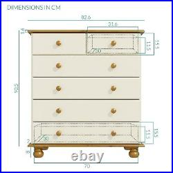 Cream and Pine Solid Spacious 2+4 Chest of Drawers Bedroom furniture