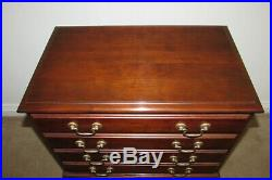 Cresent Cherry Queen Anne Silver Chest, 4 Drawers, Felt Lined, Partitioned