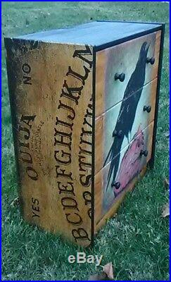 Custom Made 3 Drawer OUIJA BOARD RAVEN Chest Nightstand! Stunning! WICCAN