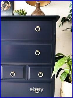 Dark Blue Stag Minstrel Tall Boy Chest of 7 Drawers urban / retro / modern