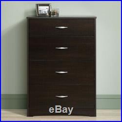 Dark Cherry Finish 4 Drawer Dresser Chest Drawers Wooden Clothes Storage Bedroom