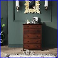 Dark Cherry Finish 5 Drawer Dresser Wooden Chest Drawers Cabinet Clothes Storage
