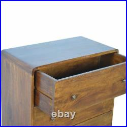 Dark wood Mid Century Solid Wood 3 Drawer Curved Chest of Drawers AF Cabinet
