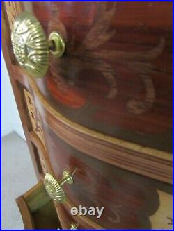Decorator's Lingerie Chest, 7 Drawer Slender Dresser, Marquetry Inlay Style (c)