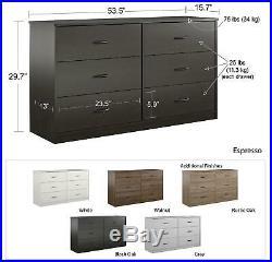 Dresser 6 Drawer Organizer Chest Bedroom Furniture Clothes White, Brown Espresso