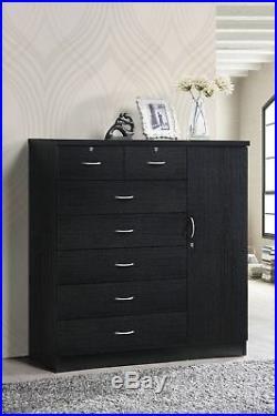 Dresser Bedroom 7-Drawer Chest Jumbo Wood Home Closet Storage Organizer Black