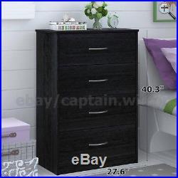 Dresser Chest 4 Drawer Bedroom Storage Modern Wood Furniture Black