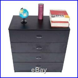 Dressers Chest of Drawers 4 Drawer Wooden Black Finish Bedroom Storage Furniture