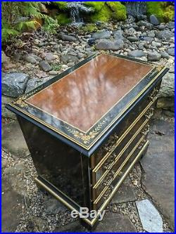 Drexel Et Cetera Asian Chinoiserie Black Lacquer 4-Drawer Cherry Chest/Dresser