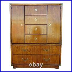 Drexel Heritage Accolade Campaign 6 Drawer 2 Door Tall Chest Armoire Dresser