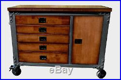 Duramax 48 in 5- Drawer Rolling Tool Chest with Wood Top for Home and Garage